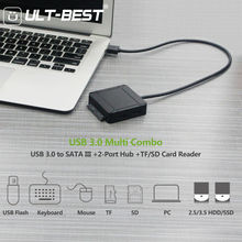 USB 3.0 to SATA III Hard Disk Adapter Cable Support UASP for 2.5 3.5 inch SSD HDD with 2-Port USB 3.0 and SD/TF Card Reader