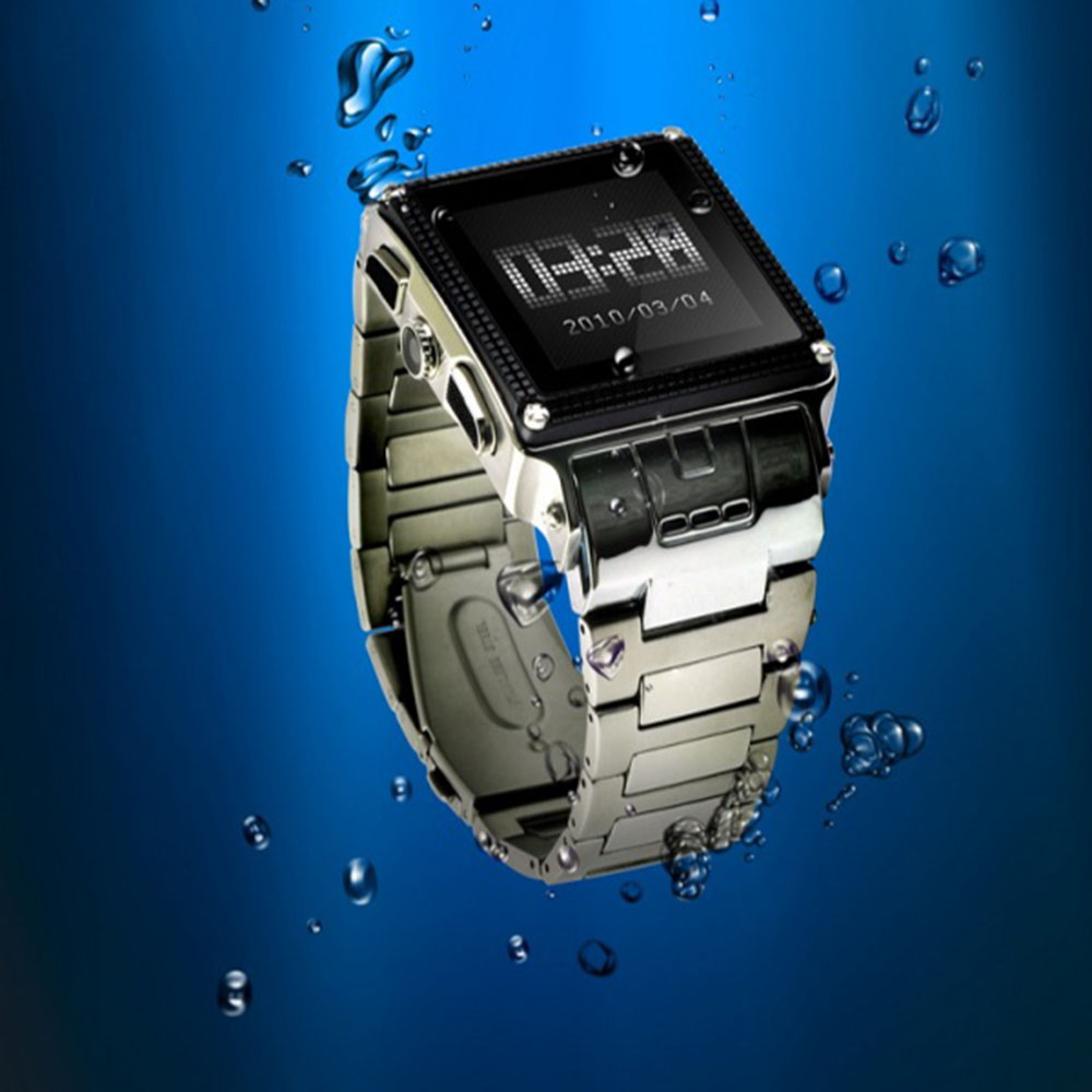 "imágenes para 2017 de lastest w818 ip67 a prueba de agua smart watch sim gsm de cuádruple banda de acero inoxidable 1.6 ""Bluetooth cámara de Pantalla Táctil Del Teléfono Celular"