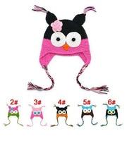 Wholesale Fashion New Cartoon Owl Designs Winter Handmade Children Baby Knitted Crochet Ear Caps Warmer Braided