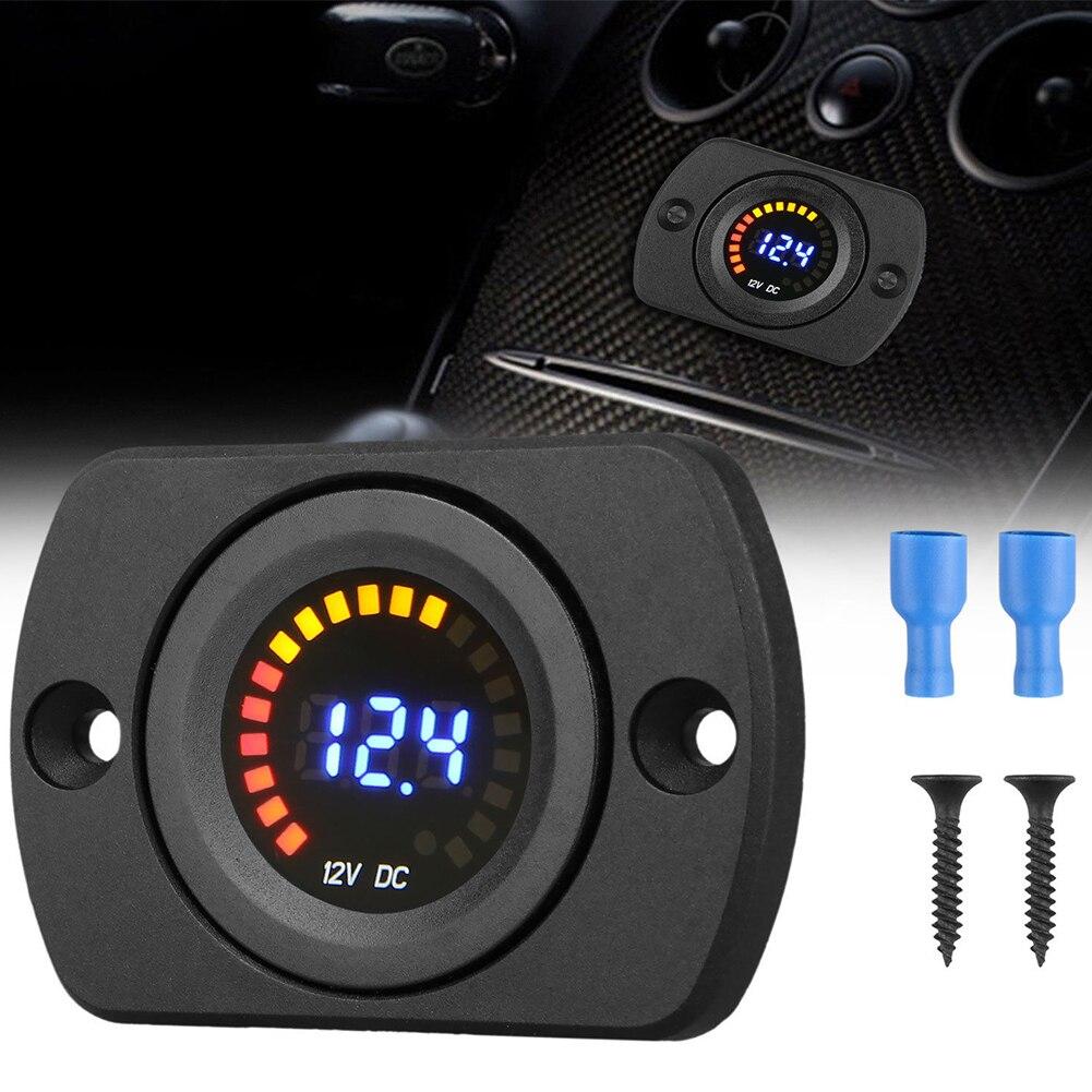 Voltmètre d'affichage numérique de haute qualité de compteur de tension de panneau de LED de cc 12 V-24 V pour la moto de voiture, jauge professionnelle de mètre de Volt