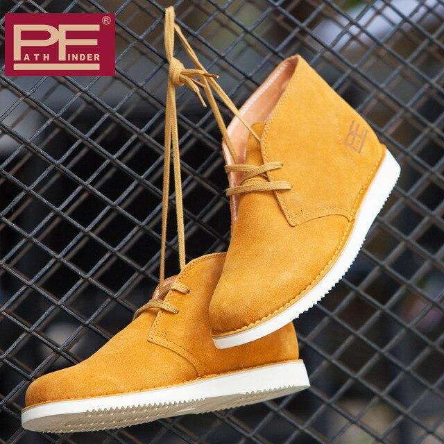 Pathfinder Fashion Genuine Leather Men Botas Original Brand Spring Cowboy Booties Designer Mans Shoes Zapatos Flats