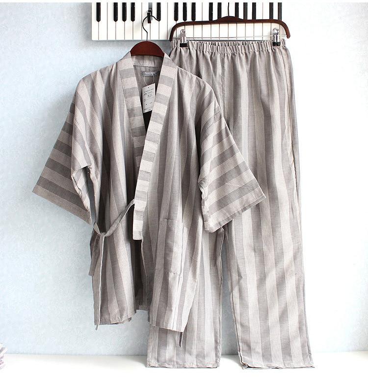 3a3f1f848c Hot sale Japanese kimono sets traditional men s clothing stripe pajamas  cotton sleepwear lounge home suits jacket+pants