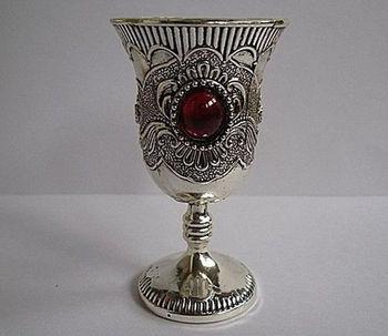 Китайская Коллекционная тибетская Серебряная декорированная Ручная инкрустация Нефритовая чашка для вина