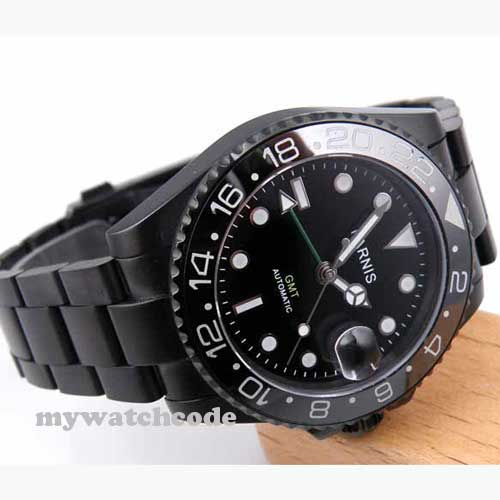 40mm Parnis Black Dial PVD GMT Sapphire Glass Automatic Mens Watch 200