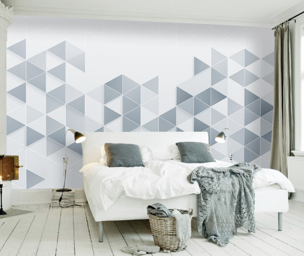 Free Shipping Custom 3D Geometry Triangle Dreamlike TV Wallpaper Northern Europe Style Wall Mural Bedroom Office Wallpaper free shipping retro english hepburn postcards simple european style backdrop moisture proof bedroom bathroom wallpaper mural