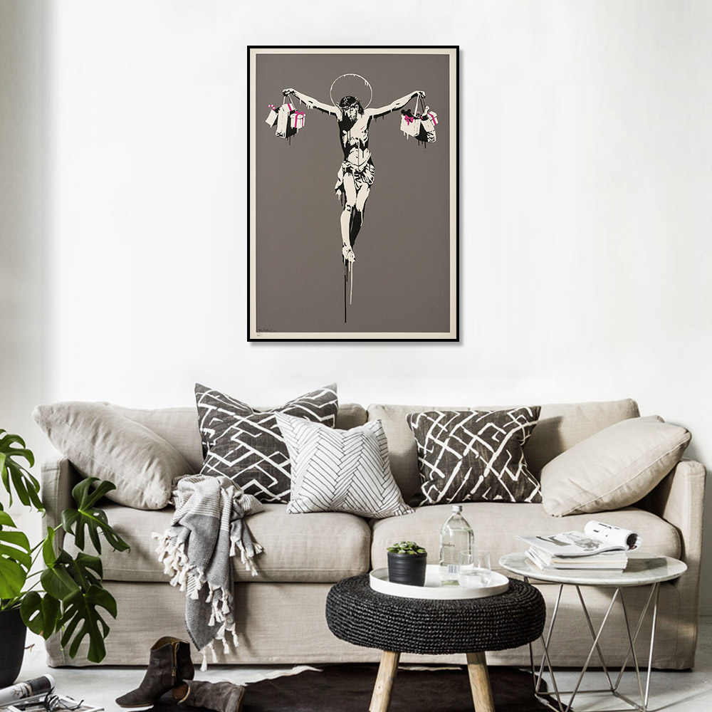 BANKSY Graffiti Street Art Christ with Shopping Bags Silk Fabric Poster Nordic Canvas Art Print Poster Wall Art Decor