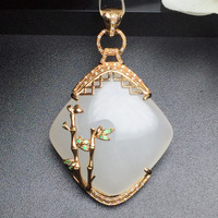 Тонкой ювелирной коллекции Настоящее 18 К розовое золото натуральный Белый Хотан Jade драгоценный кулон Цепочки и ожерелья штраф Подвески Цеп