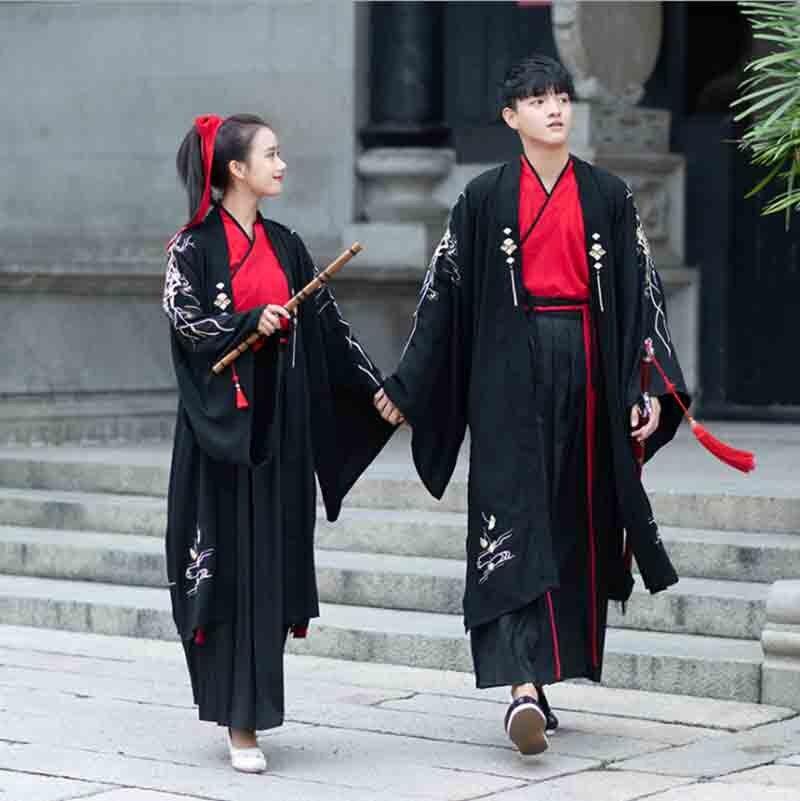 Couples Hanfu noir ancienne dynastie vêtements robe de mariée grandes manches robe de soirée Halloween Costume pour hommes/femmes grande taille 3XL