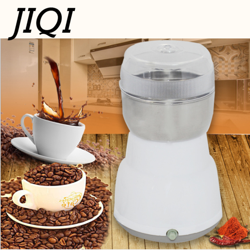 JIQI Electric Coffee Bean Grinder Stainless steel Mini Beans Grinding Machine Grain Mill Herbs Nuts Pulverizer powder crusher цена и фото