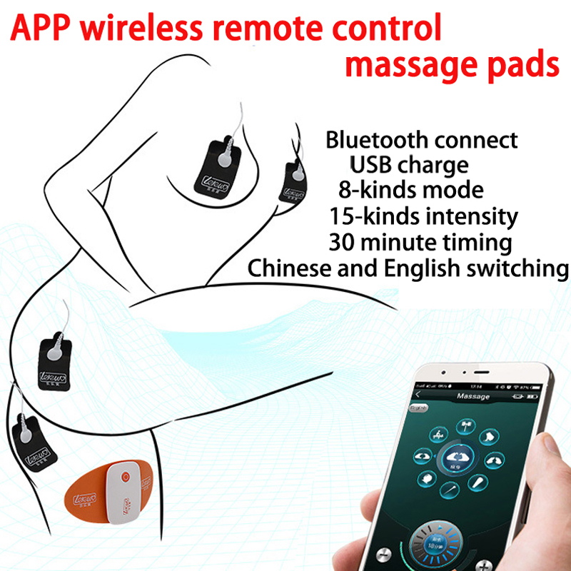 APP Wireless Remote Control <font><b>Electro</b></font> Stimulation Musculaire Pad Massage Kit Bdsm <font><b>Electro</b></font> <font><b>Shock</b></font> <font><b>Sex</b></font> <font><b>Toy</b></font> <font><b>Cable</b></font> Stimulator Patch Set image