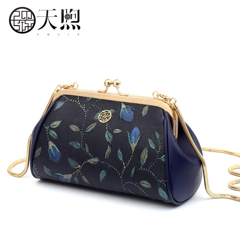 Pmsix Mini chain package 2017 spring and summer embossed leather evening bag Fashion shells Hand bag все цены
