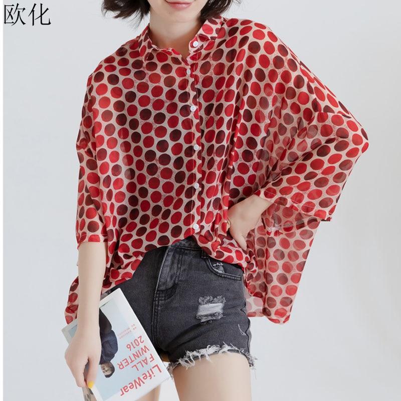 2019 Summer Batwing Chiffon Women Blouse Shirt Plus Size Polka Dot Blouse Top Oversize Vintage Office Lady Clothing 4XL 5XL 6XL