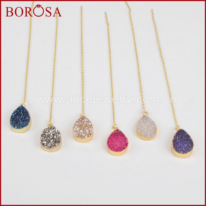 BOROSA 5pairs Drusy Crystal Threader Earrings Gold Electroplated Drop Earring for Women  ...