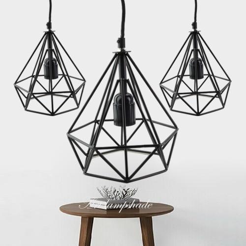 Newest Art Deco Vintage E27 pendant light LED lamp metal cube cage ...