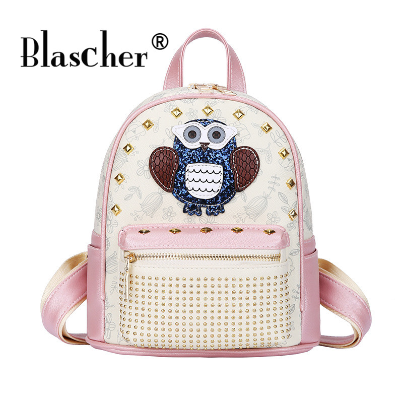 Blascher Owl Rivet Backpack Mini Women Fashion Cute Backbags Women s PU School Bag Girls Travel