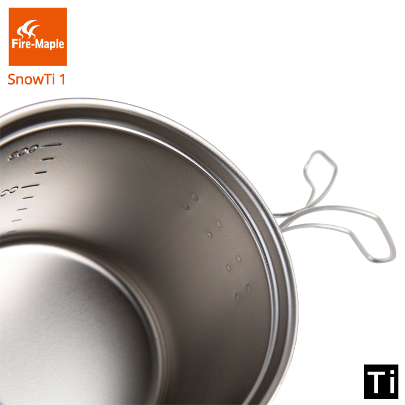 Fire Maple SnowTi 1 Portable Snow Titanium 0.65L Outdoor Camping Pot and 0.28L Frying Pan Ultra Light Camping Pots Set-in Outdoor Tablewares from Sports & Entertainment    3