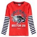 Nova nuevos diseños camisetas niños tops de la venta caliente del o-cuello de la manera de manga larga ropa de los niños desgaste de los cabritos nova t shirts otoño desgaste