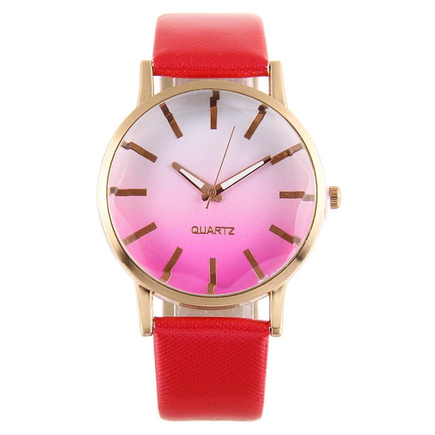 88f0a5f3b0b Moda Quartz Watch Mulheres Rainbow Design Pulseira de Couro Liga Relógio de  Pulso Esporte Casual Do Vintage Presente Relogio feminino  60