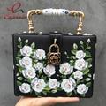 Гламурный и элегантный белая роза pattern fashion box форма белый и черный сумки сумка кошелек crossbody сумка