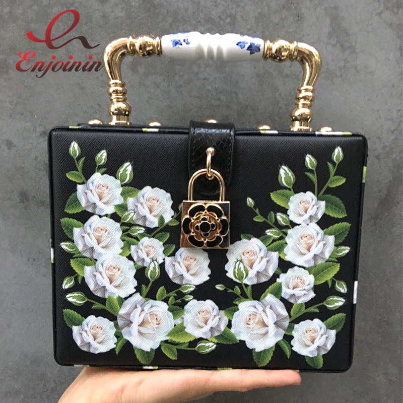 Glamorous and elegant white rose pattern fashion box shape white & black handbag shoulder bag purse crossbody messenger bag glamorous glamorous ac0363 white navy stripe
