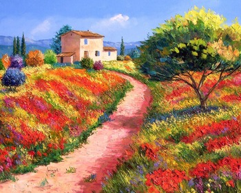 High quality Oil painting Canvas Reproductions Poppies road By Jean Marc Janiaczyk hand painted