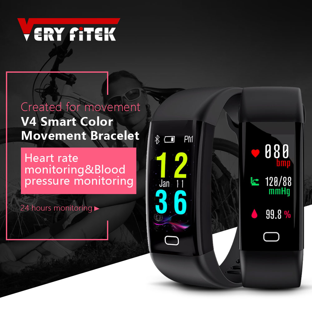 VERYFiTEK V4 Waterproof Smart Fitness Tracker Color Screen Heart Rate Monitor Watch Smart Wristband Bracelet for IOS Android s3 bluetooth waterproof smart watch wristband fashion women ladies heart rate monitor fitness tracker smartwatch for android ios