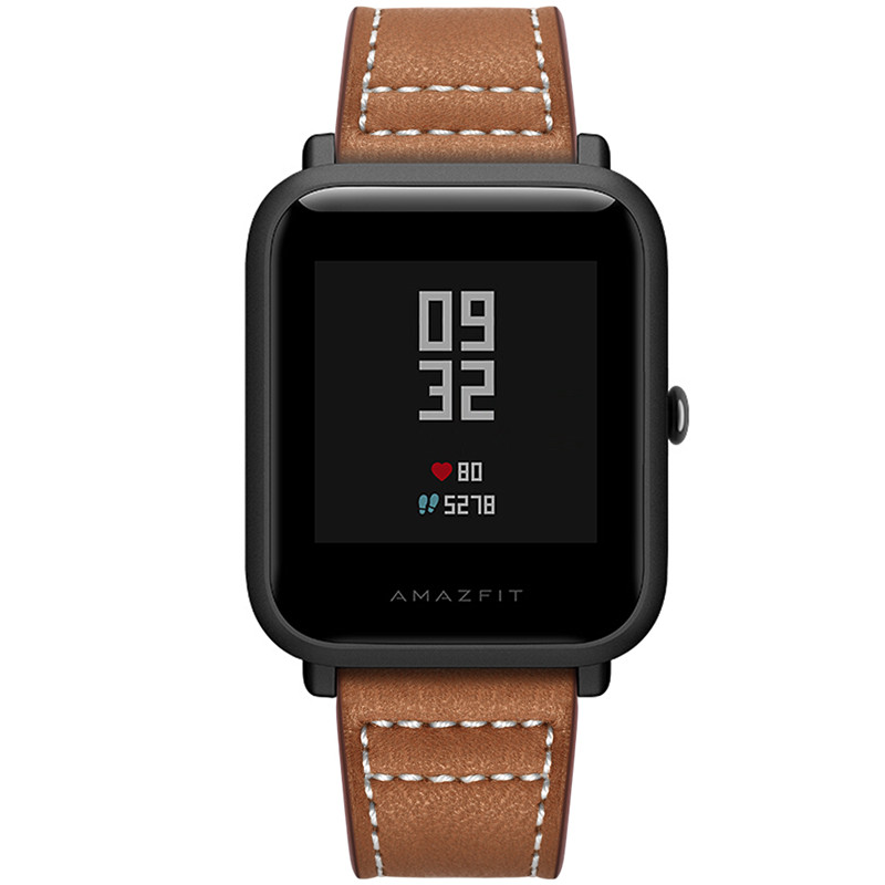 leather strap For Xiaomi Huami Amazfit Bip BIT Huami Amazfit PACE Lite Youth Smart Watch Wearable Wrist Bracelet Watchband in Smart Accessories from Consumer Electronics