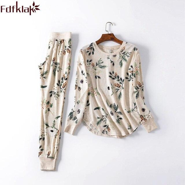 Fdfklak yeni bayanlar loungewear ev giysileri pijama kadın pijama pijama takımı bahar sonbahar uzun kollu pijama Q1542