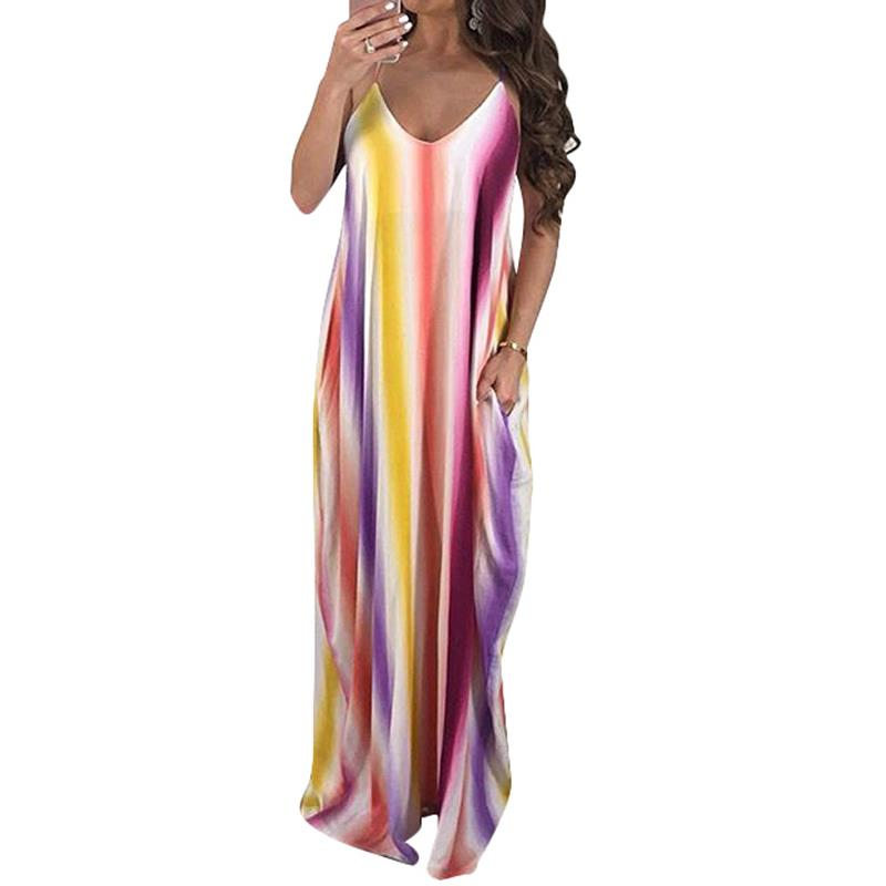 Summer Dress 2018 Sexy Off Shoulder Spaghetti Strap Dress Striped Print Casual Loose Long Beach Dresses With Pockets WS7676W