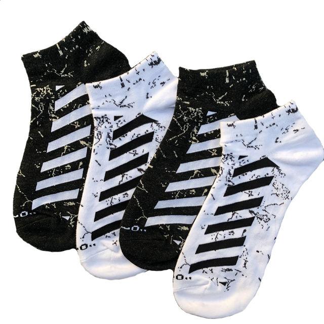 New Tide High Quality Ankle Socks Men Fashion Street Style Hip Hop Cotton Socks Short Casual Diagonal Stripes Socks Men