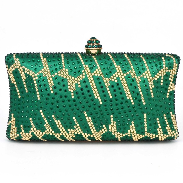 88f1ae6fb0c7 Women s Green Satin Colorful Diamond Evening Bags Red Luxury Hot Drilling  Shoulder Chain convex Clutch Bags