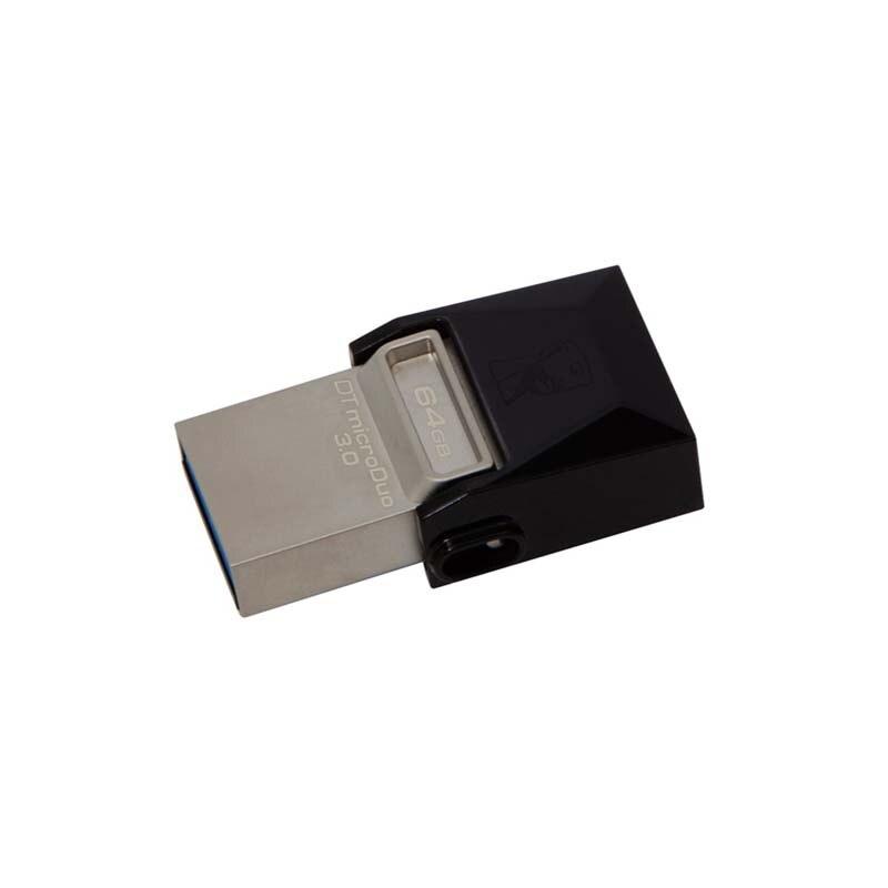 Kingston Technology DataTraveler DTDUO3 64GB microDuo 3.0 USB 3.0 (3.1 Gen 1) USB Type-A connector  Swivel, Black Flash drive