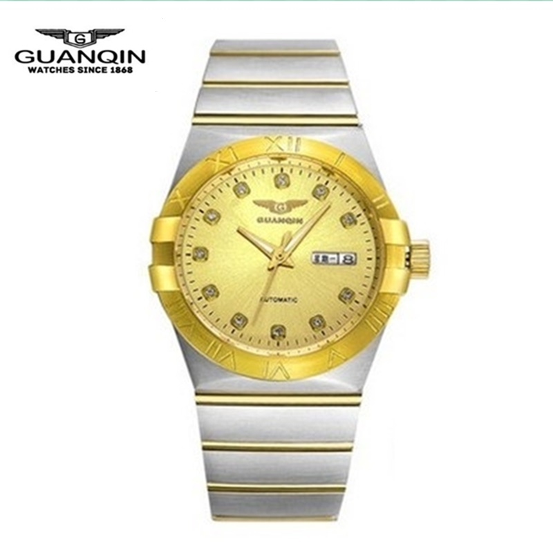 Gold Luxury Men Watch Brand GUANQIN Fashion Men Mechanical Watch Casual Waterproof