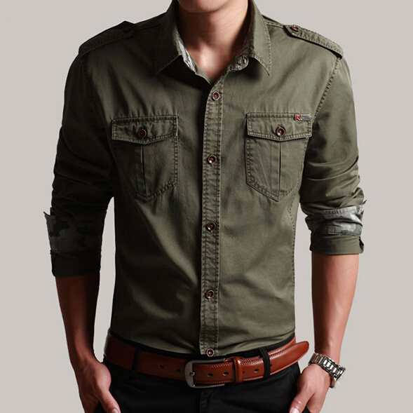 New Casual Mens Military Shirts Long Sleeve Slim Fit Shirt 4
