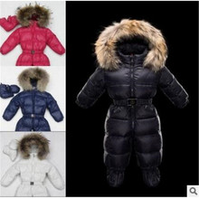Russian winter  baby boy winter children girls white duck down coats overalls clothing set jacket
