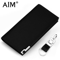 AIM Brand Designer Man Genuine Leather Wallet Men Luxury Slim Business Wallets Cusual Black Soft Cow