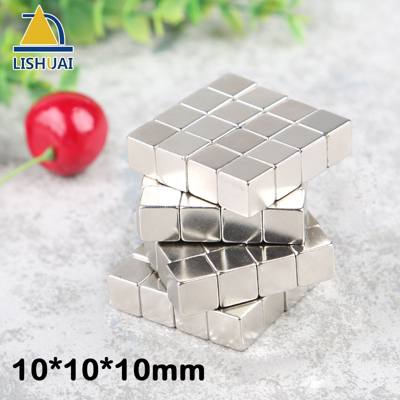 все цены на LISHUAI 27pcs/64pcs 10*10*10mm Strong Neodymium Magnet Block NdFeB Rare Earth Peramnent Magnets 10x10x10mm онлайн