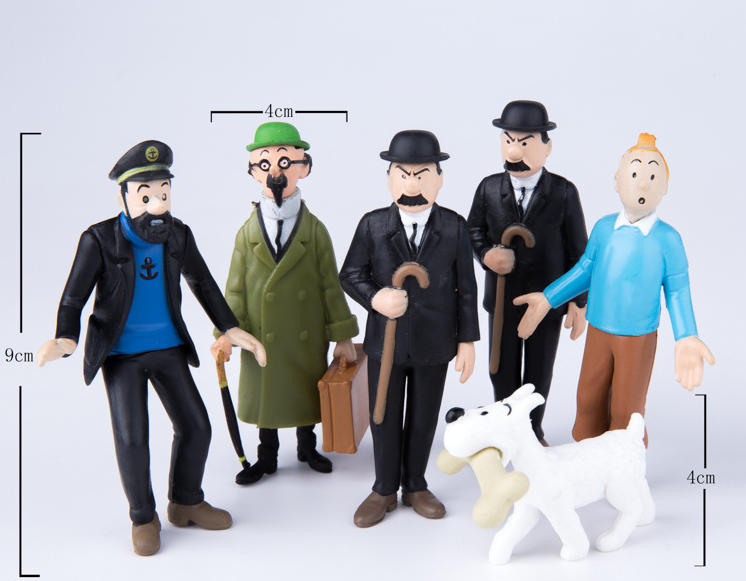DHL600pcs/lot cosplay The Adventures Of Tintin Snow Collectible Movie & TV PVC Action Figures Toys for kids christmas gift-in Action & Toy Figures from Toys & Hobbies    1