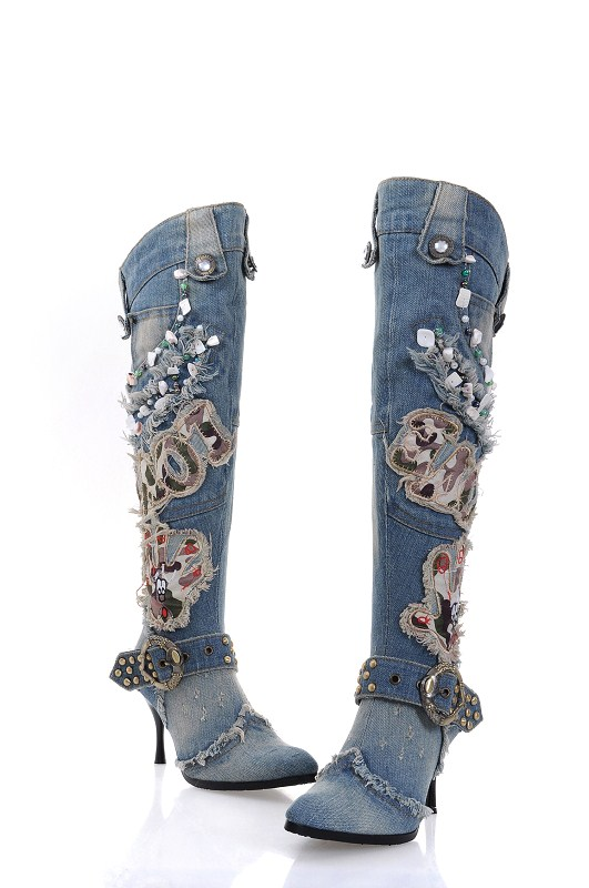High Quality Women Wash Denim Beaded High Heel Knee Length Boots Thin Heel Motorcycle Jeans Boots Real Photo Free Ship chic women s bleach wash palazzo jeans