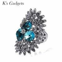 Azul \ color de rosa \ gris cristal austriaco anillo negro rhinestone boda joyería vintage retro grande Anillos para las mujeres anillos Mujer