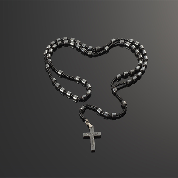 Trendy Cross Charms Jesus For Men Black Stone Magnetic Natural Hematite Pendant Necklaces Crucifix Rosary Bead Brand A&A Jewelry