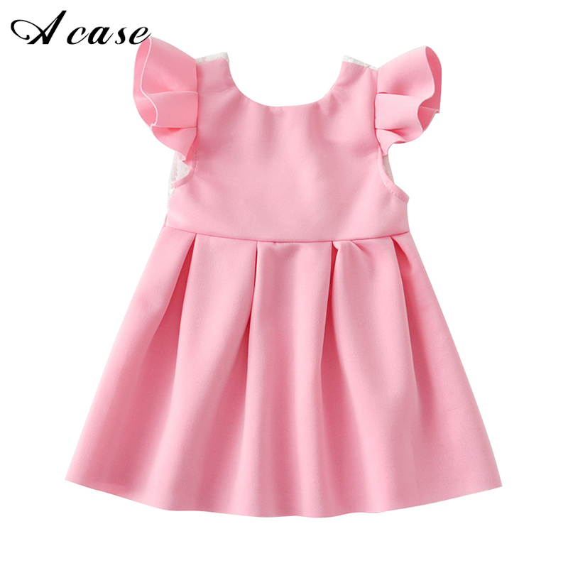 Baby Girl Flying Sleeve Short Dress 2018 Summer Lace Backless Bow Pink Blue Birthday 1 2 3 4 Years Toddler Kids Princess Dresses