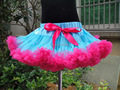 Hot sale blue and rose tutu skirt girls pettiskirts with red bow 5 pieces/lot PETS-094