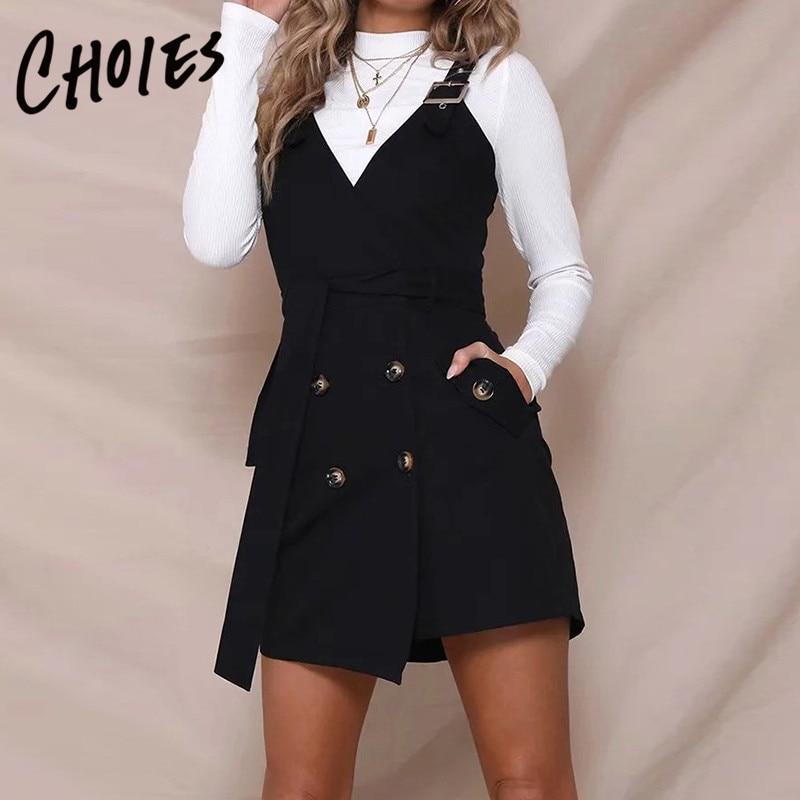 Blanc/noir/kaki col en v boucle sangle double boutonnage patte de boutonnage asymétrique ourlet Mini robe 2018 femmes printemps/automne robe