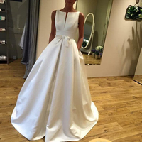 Cheap Simple A Line Wedding Dresses 2019 Scoop Neck Sleeveless Backless Bow Court Train Satin Country African Bridal Gowns New