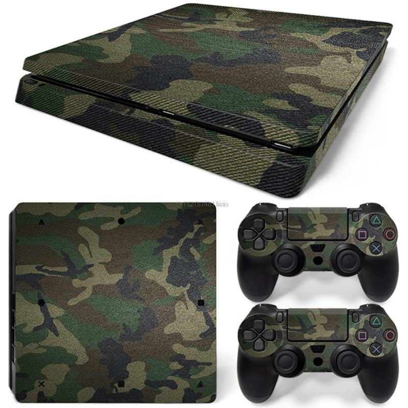 Camouflage Decal Sticker Skin Cover For Sony PS4 Slim Console + 2 Controller