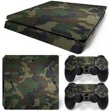 Kamuflaj çıkartma cilt kapak için Sony PS4 Slim konsol + 2 kontrolör