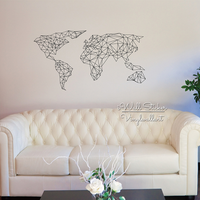 Geometric Map Of The World Wall Sticker Decal Modern Living Room Decor
