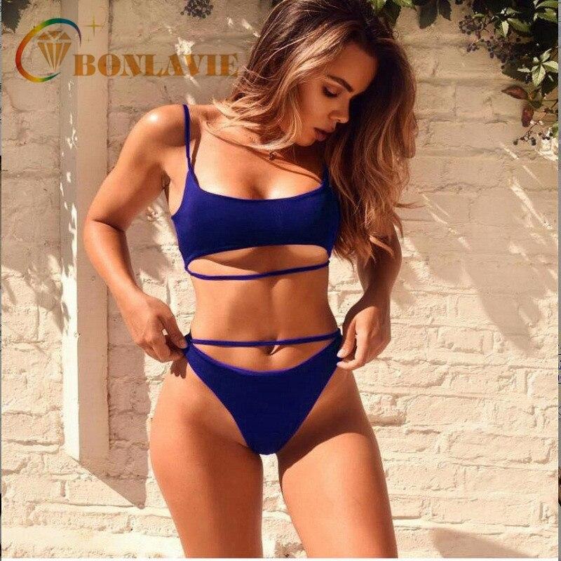 2018 New Sexy Summer Women Bikini Set Solid Color Two Piece Beach Bathing Suit High Cut Swimwear Split Swimsuit 4 colors