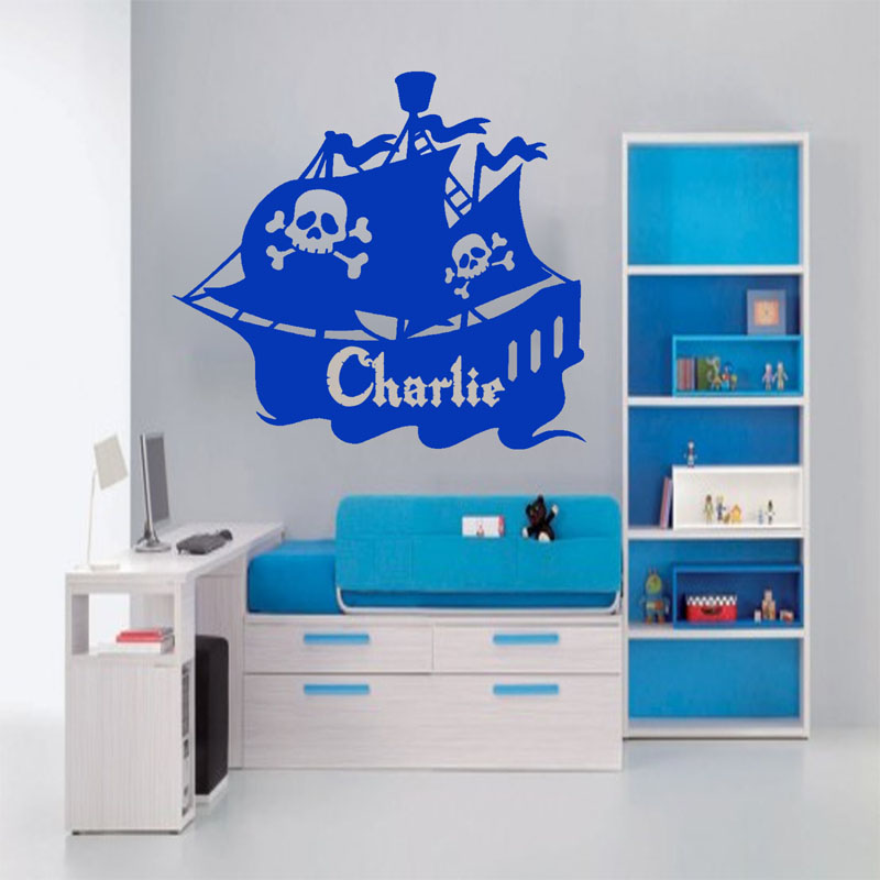 Custom Personalized Name Pirate Ship Wall Stickers Home Decor Kids Bedroom Wall Decals Vinyl